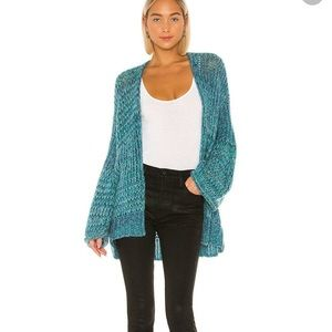 Free people home town blue/green cardigan XS